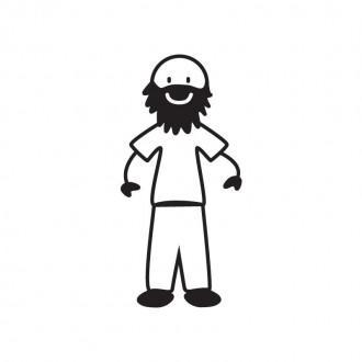 Papà pelato con barba - Family Stickers