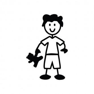 Bambino con peluche - adesivi famiglia