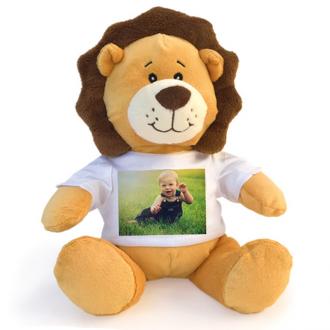 Leone peluche personalizzato con foto o dedica