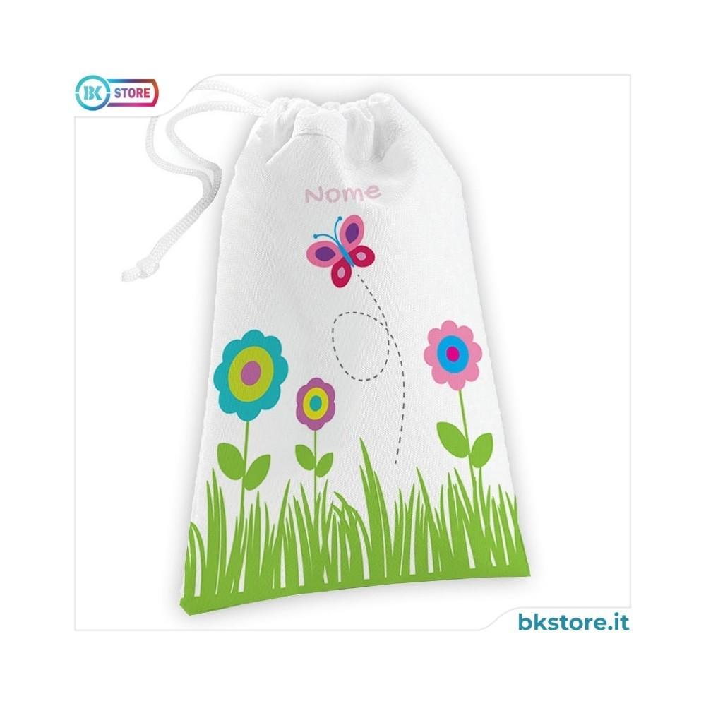 Sacca per bavaglini personalizzata con fiore e farfalla