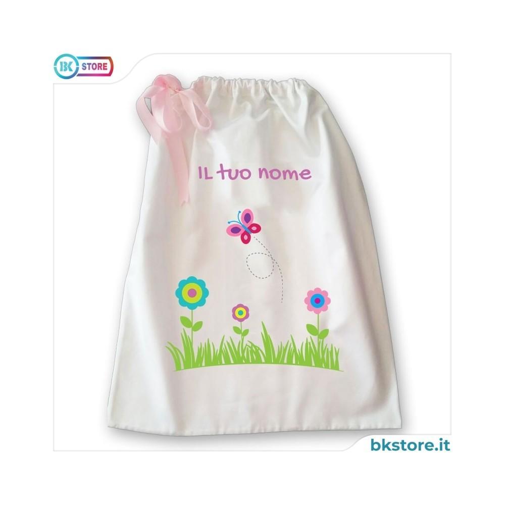 Sacca della nanna con disegno fiori,  farfalla e nome