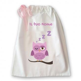 Sacca della nanna con disegno gufo che dorme  per bambina