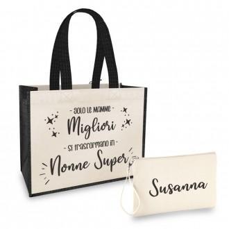 borsa shopper regalo nonna con pochette personalizzata