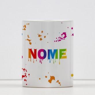Tazza con schizzi di colore  personalizzabile con nome