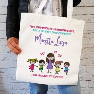 shopper personalizzata maestra con bambini