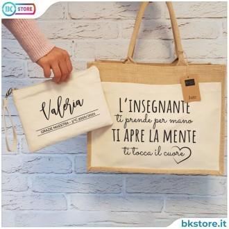 borsa shopper e pochette personalizzata per la maestra insegnante