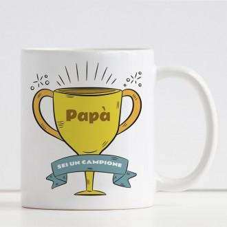 Tazza papà sei un campione personalizzata nome