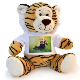 Tigre peluche personalizzata t-shirt con foto o dedica