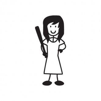 Mamma con bastone da baseball - Famiglia adesiva