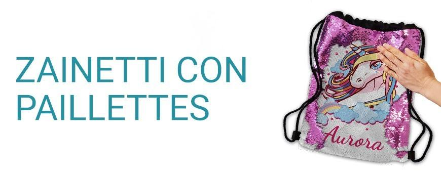 Zainetti paillettes gira brilla personalizzati con foto e testo